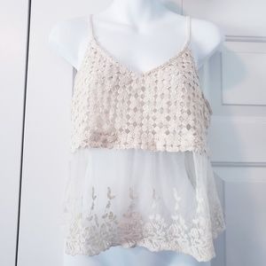 Astr Romantic Boho Crochet Lace Sheer Tank Top M